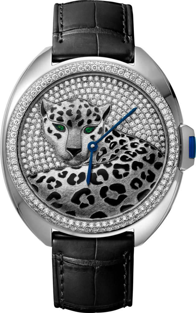 Panthère Jewellery Watches40mm, automatic movement, white gold, enamel, diamonds, leather
