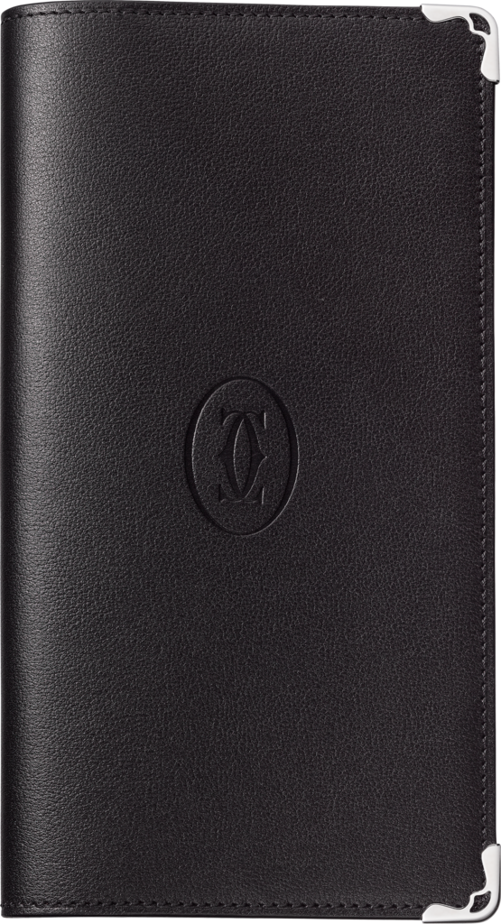 Must de Cartier Small Leather Goods, pocket diary, large modelBlack calfskin, palladium finish