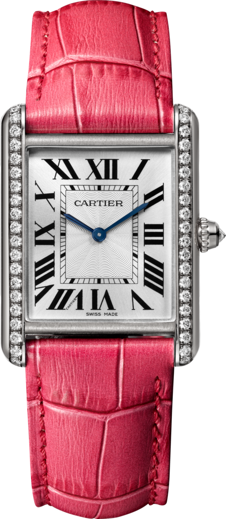 Tank Louis Cartier watchLarge model, rhodium-finish 18K white gold, leather, diamonds