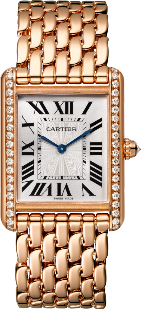 Tank Louis Cartier watchLarge model, rose gold, diamonds