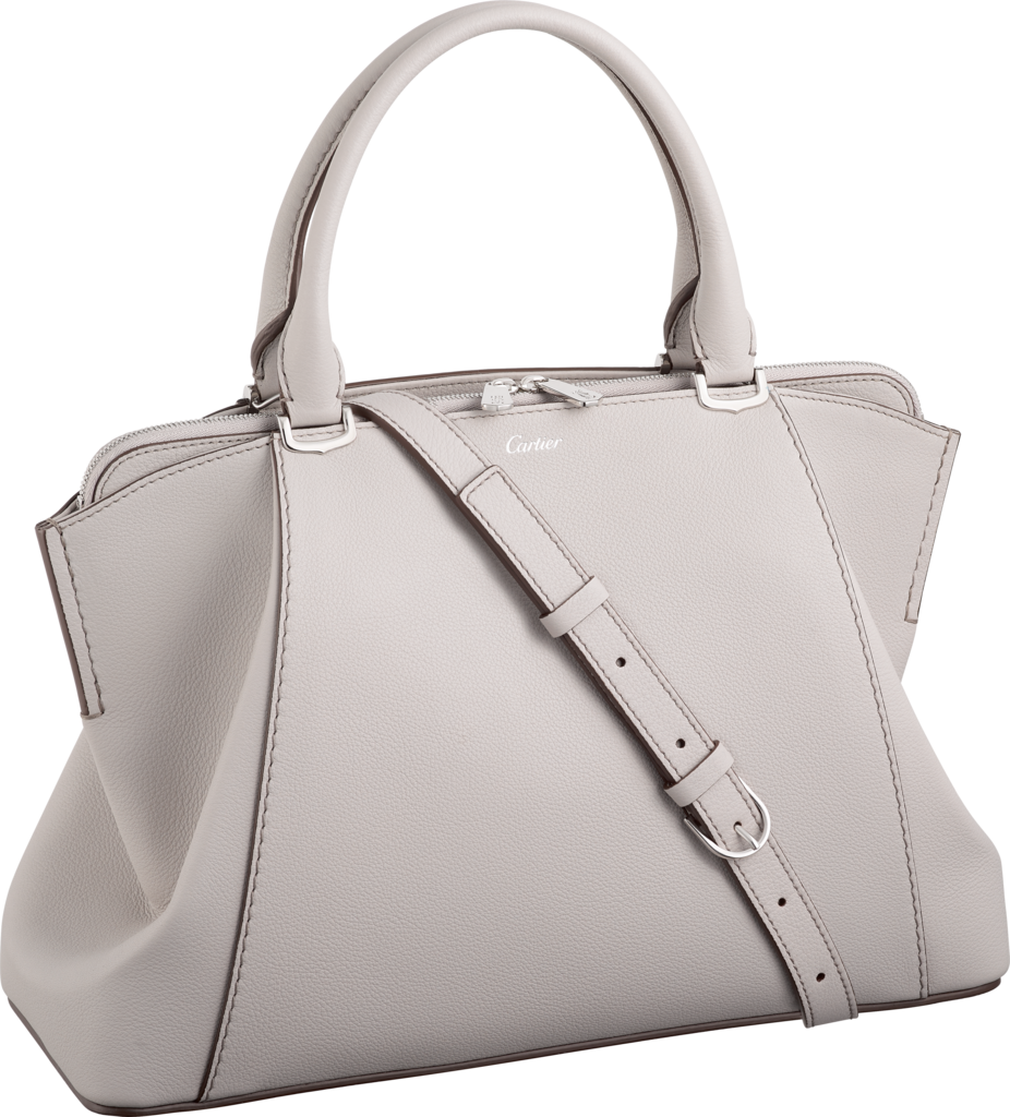 C de Cartier bag, small modelMoonstone taurillon leather, palladium finish