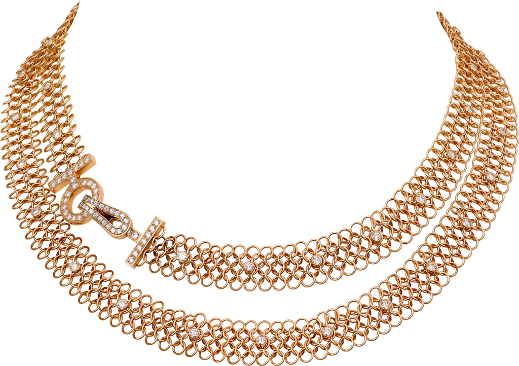Agrafe necklaceRose gold, diamonds