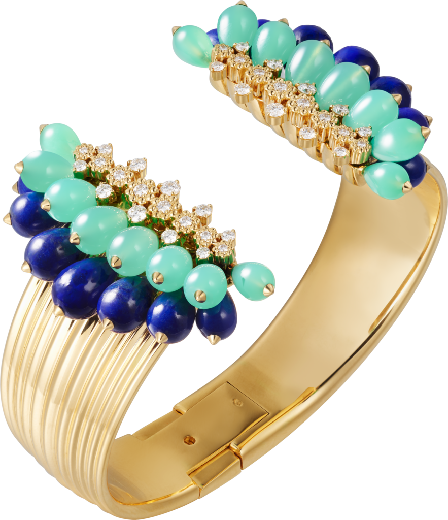 Cactus de Cartier braceletYellow gold, chrysoprase, lapis lazuli, diamonds