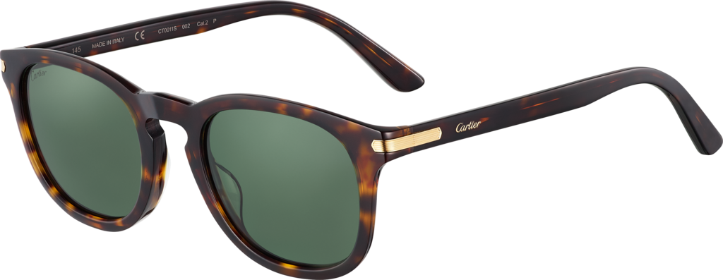 C de Cartier SunglassesTortoiseshell-effect coloured composite, champagne golden finish, green polarised lenses.