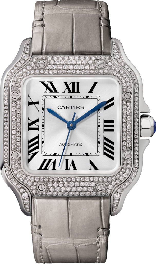 Santos de Cartier watchMedium model, automatic, white gold, diamonds, 2 interchangeable leather bracelets
