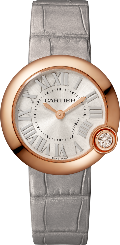 Ballon Blanc de Cartier watch30 mm, rose gold, diamond, leather