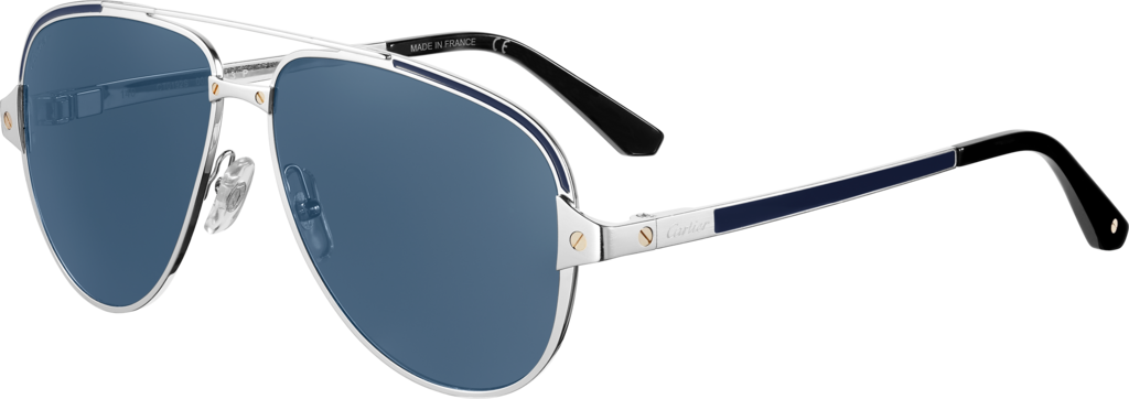 Santos de Cartier sunglassesSmooth and brushed platinum-finish metal, polarised blue lenses with silver-toned flash