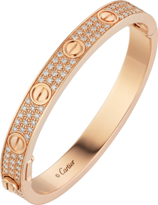 Love bracelet, diamond-paved Rose gold, diamonds