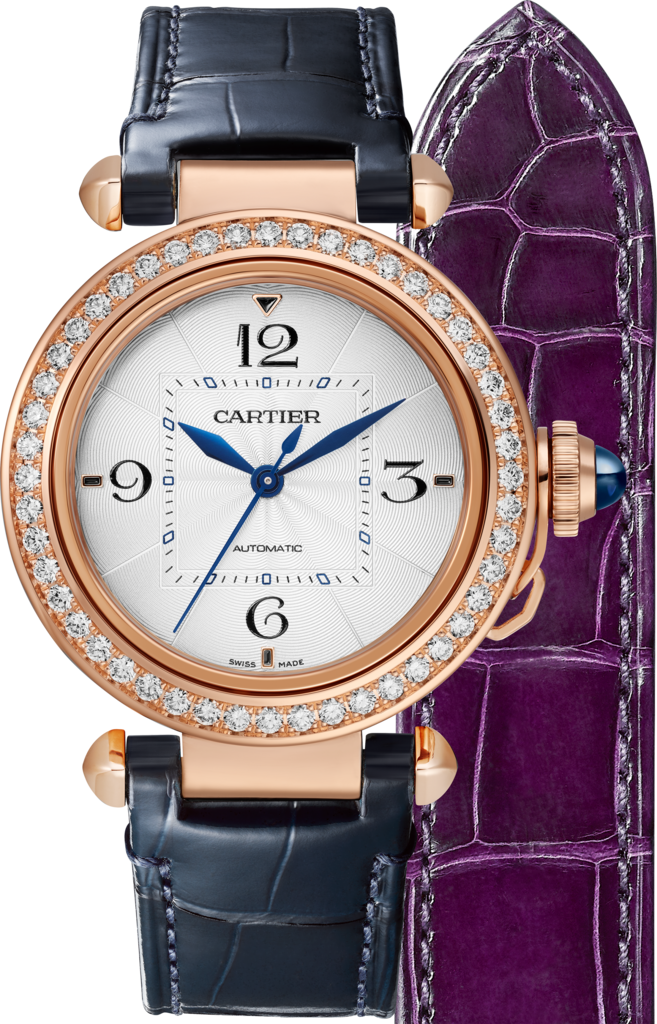Pasha de Cartier watch35 mm, automatic movement, rose gold, diamonds, 2 interchangeable leather straps