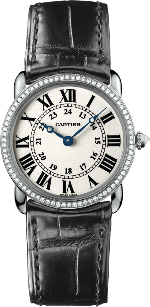 Ronde Louis Cartier watch29 mm, rhodium-finish 18K white gold, leather, diamonds