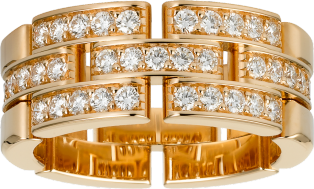 Maillon Panthère ring, 3 half diamond-paved rows Rose gold, diamonds
