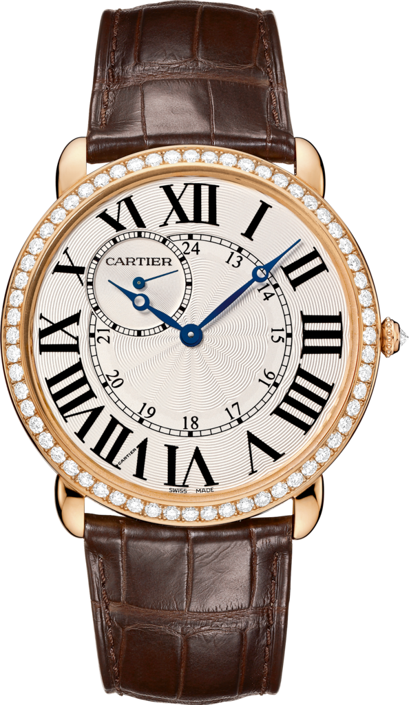 Ronde Louis Cartier watch42 mm, rose gold, leather, diamonds