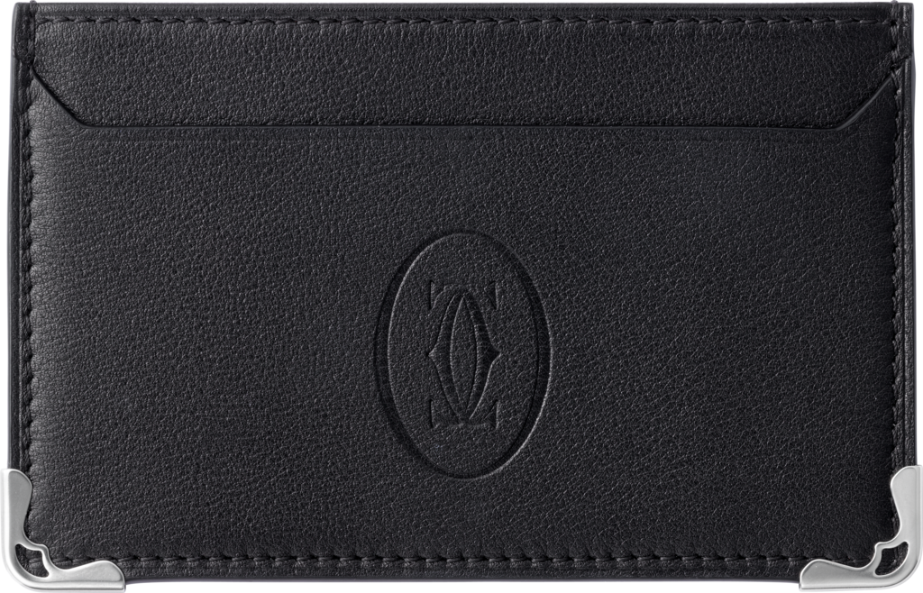 Must de Cartier Small Leather Goods, simple card holderBlack calfskin, stainless steel finish
