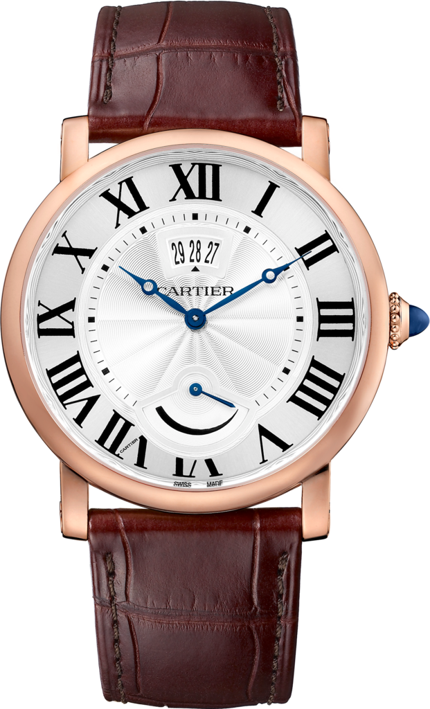 Rotonde de Cartier watch, Calendar Aperture and Power Reserve40 mm, rose gold, leather