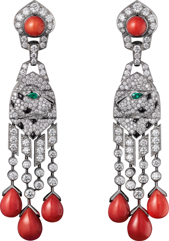 Panthère de Cartier High Jewellery earringsPlatinum, coral, onyx, emeralds, diamonds